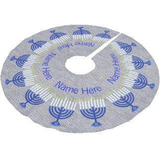 Z Hanukkah Dark Blue Menorah Fun Chrismukkah Brushed Polyester Tree Skirt