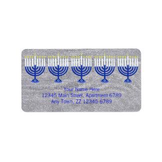 Z Hanukkah Dark Blue Menorah On Faux Silver Bling Label