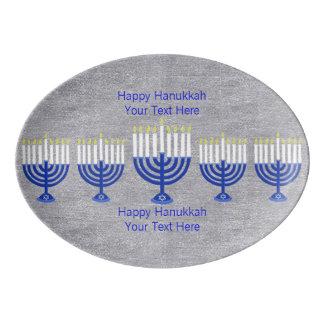 Z Hanukkah Dark Blue Menorah Silver Celebration Porcelain Serving Platter