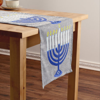 Z Hanukkah Dark Blue Menorah Silver Holiday Decor Long Table Runner