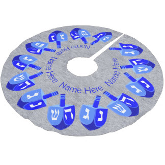 Z Hanukkah Dreidels Blue Personalized Chrismukkah Brushed Polyester Tree Skirt