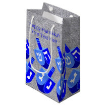 Z Hanukkah Dreidels In Blue Pattern Small Holiday Small Gift Bag