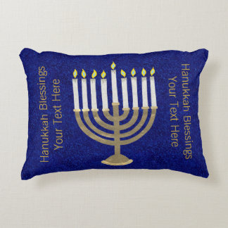 Z Hanukkah Gold Menorah Holiday Home Decor Decorative Pillow