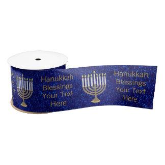 Z Hanukkah Gold Menorah Wide Elegant Pattern Satin Ribbon