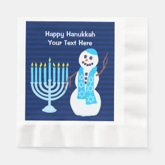 Z Hanukkah Jewish Snowman And Blue Menorah Large Paper Napkin