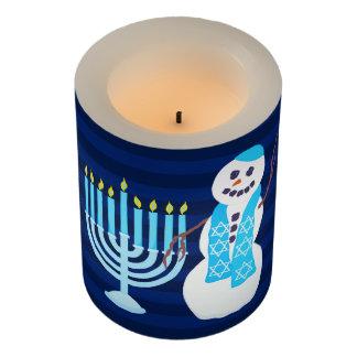 Z Hanukkah Jewish Snowman Blue Menorah Hanukiah Flameless Candle