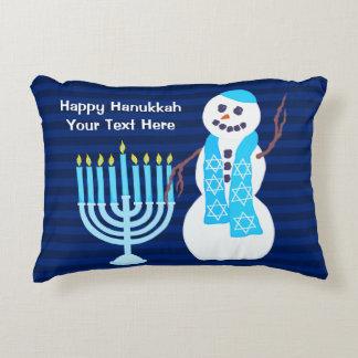 Z Hanukkah Jewish Snowman Blue Menorah Holiday Decorative Pillow