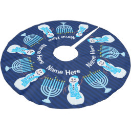 Z Hanukkah Jewish Snowman Menorah Chrismukka Fun Brushed Polyester Tree Skirt