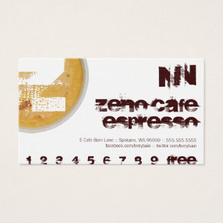 Z - Initial Letter Foamy Coffee Cup Loyalty Punch Business Card
