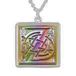 "Z Initial Monogram ""Celtic Rainbow"" Necklace Pendant"
