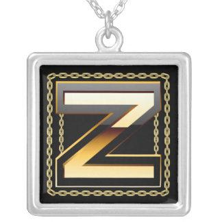 Z- Initial  Monogram Letter Necklace