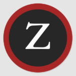 Z : Initial Z / Letter Z Modern Red Black Stickers