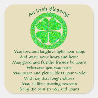 Z Irish Blessing Celtic Shamrock Square Sticker