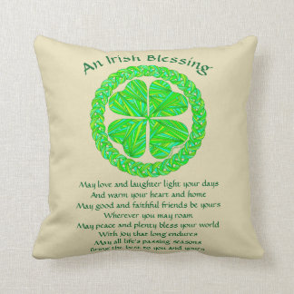 Z Irish Blessing Celtic Shamrock Throw Pillow