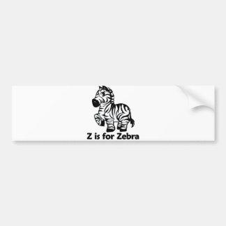 Z is for Zebra Bumper Sticker