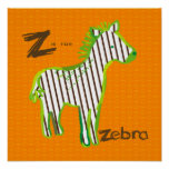 'Z is for zebra' digital painting poster