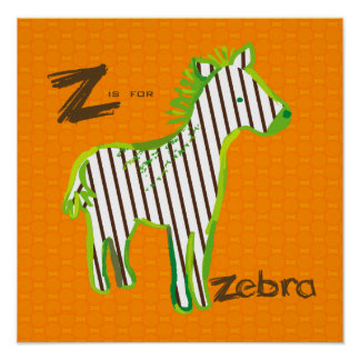 'Z is for zebra' digital painting poster