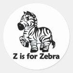 Z is for Zebra Round Sticker