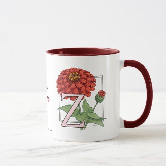Z is for Zinnias Flower Monogram Mug