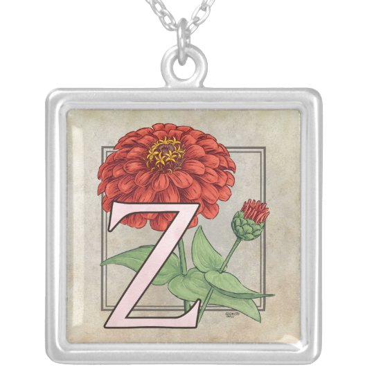 Z is for Zinnias Flower Monogram Silver Plated Necklace