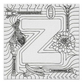 Z Is For Zipper Color In Letter Poster