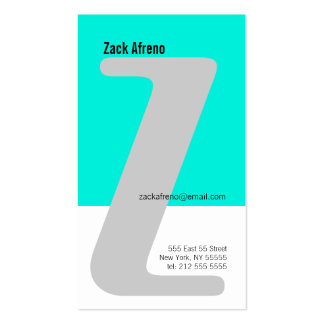 Z Letter Alphabet Business Card Blue Ban