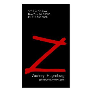 Z Letter Alphabet Business Card Red Black