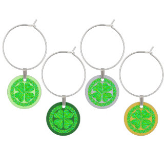 Z Lucky Celtic Shamrock 4 Leaf Clover Green Irish Wine Glass Charm