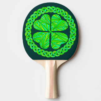 Z Lucky Celtic Shamrock Four Leaf Clover Ping-Pong Paddle