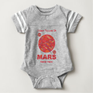 Z Mars The Red Planet Space Geek Solar System Fun Baby Bodysuit