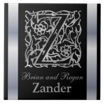 "Z Monogram and Name ""Besque on Black"" Ceramic Tile"