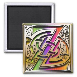 "Z Monogram ""Celtic Rainbow"" Square Magnet"