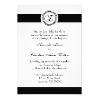 Z Monogram Dot Circle Wedding Invitations (Black)