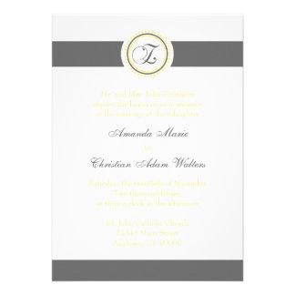 Z Monogram Dot Circle Wedding Invitations (Gray)
