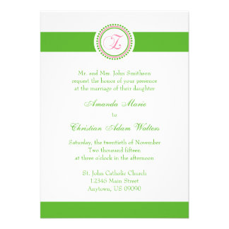 Z Monogram Dot Circle Wedding Invitations (Green)