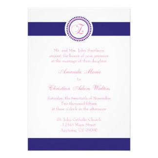 Z Monogram Dot Circle Wedding Invitations (Navy)