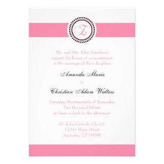 Z Monogram Dot Circle Wedding Invitations (Pink)