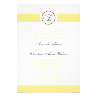 Z Monogram Dot Circle Wedding Invitations (Yellow)