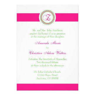 Z Monogram Dot Circle Wedding Invite (Pink / Lime)