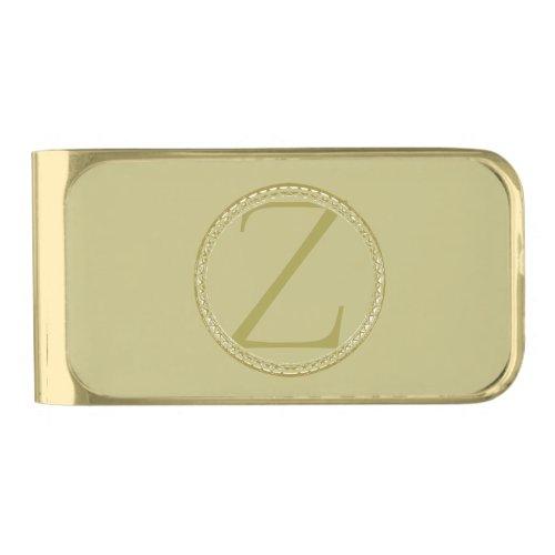 Z Monogram Gold Finish Money Clip