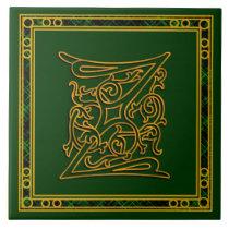 "Z Monogram ""Irish Gold on Green"" Ceramic Tile"