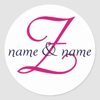 """""""Z"""" monogram label, personalize first names Classic Round Sticker"""