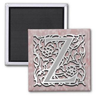"""Z Monogram 'Silver Stone' 2"""" Square Magnet"""