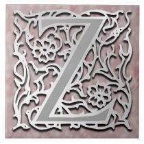 """Z Monogram """"Silver Stone"""" Ceramic Tile"""