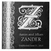 "Z Monogram ""White Lace on Black"" Wedding Tile"