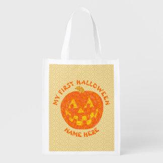 Z My 1st Halloween Jack O Lantern Pumpkin Reusable Grocery Bag