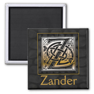 """Z Name Monogram """"Celtic Black Stone"""" Square Magnet"""