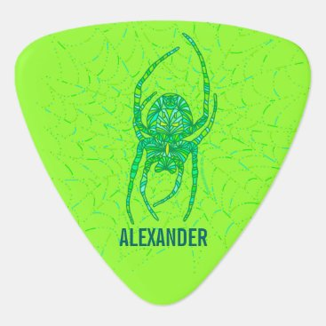 Halloween Themed Z Neon Green Spider Spooky Halloween Fun Custom Guitar Pick