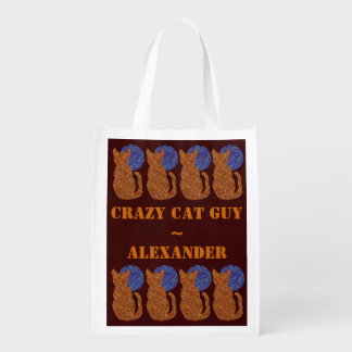 Z Orange Cat And Moon Personalized Crazy Cat Guy Reusable Grocery Bags