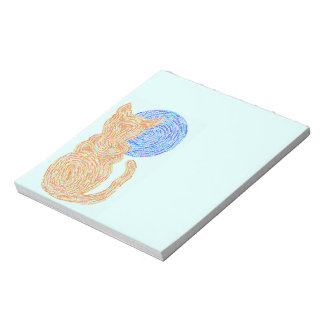 Z Orange Cat And The Moon Abstract Art Fun Notes Notepad